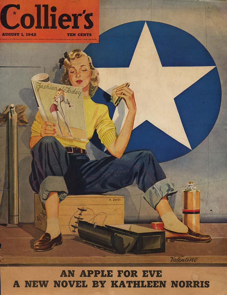 COLLIER'S COVER 1942 Woman war worked reads fashion magazine by Valentine