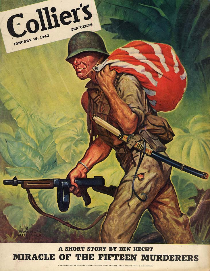 COLLIER'S COVER 1943 GI bags war residue in Japanese flag by Franklin Wittmack