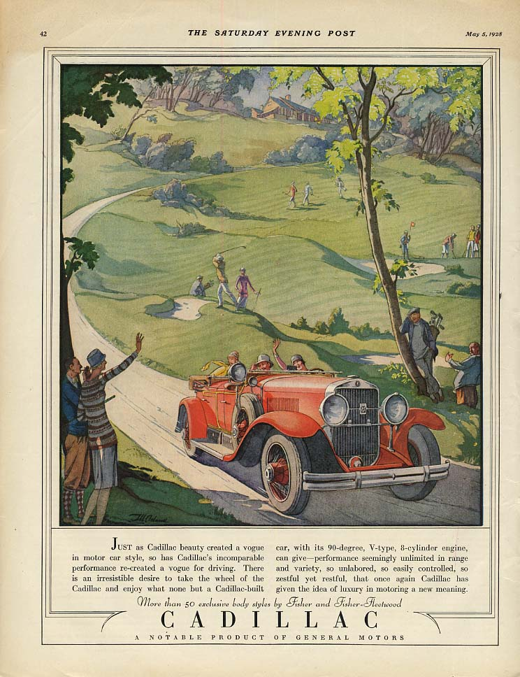 Cadillac beauty created a vogue in motor car style - dual-cowl phaeton ad 1928