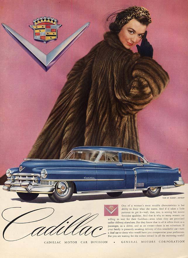 A woman's most notable characteristics - Cadillac 4-door sedan ad 1951 Vog