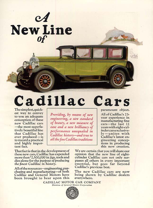 A New Line of Cadillac Cars ad 1926 4-door sedan H&G