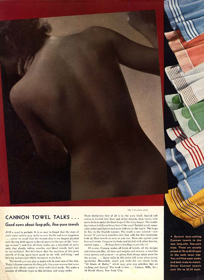 Good news about long-pile Cannon Towels ad 1935 Steichen nude HBZ