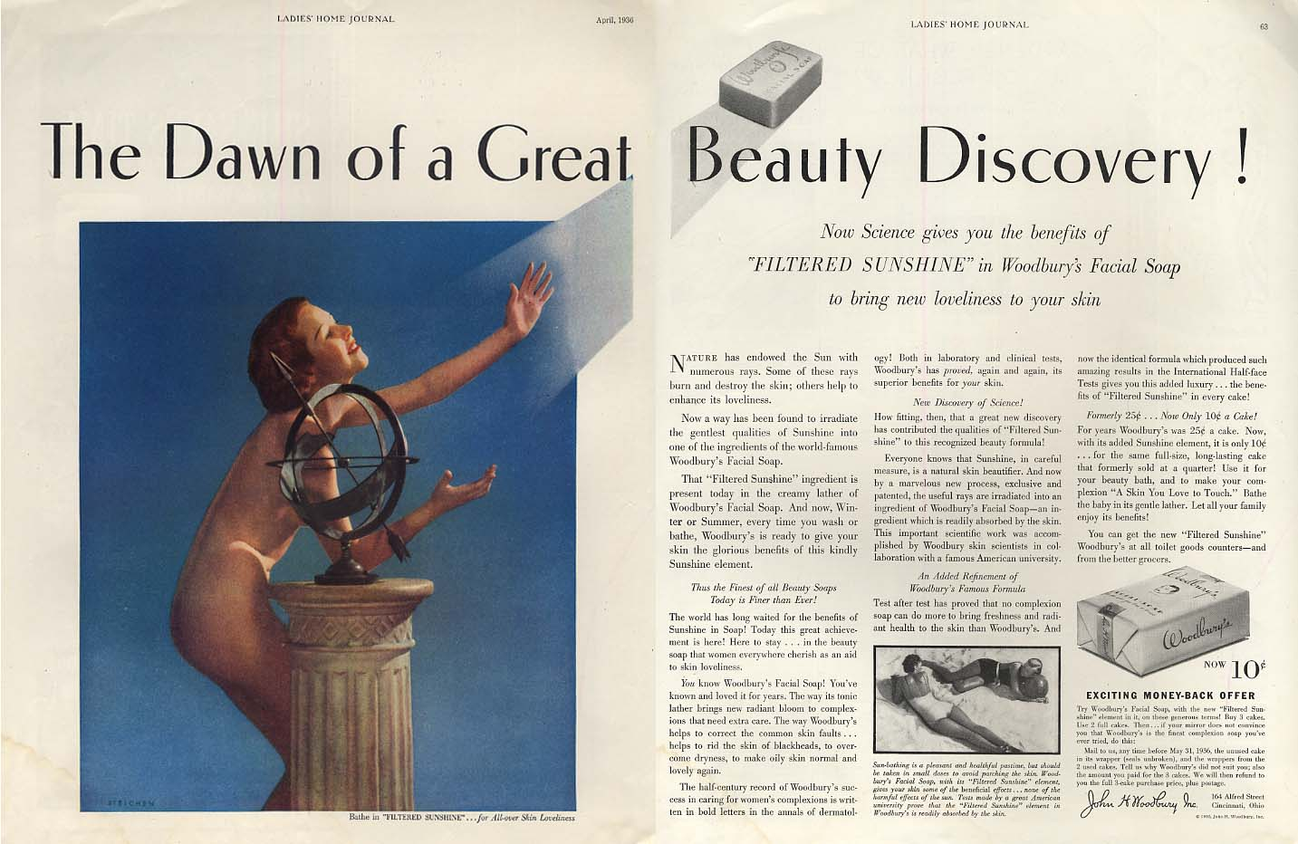 The Dawn of a Great Beauty Discovery! Woodbury Soap ad 1936 Edward Steichen nude