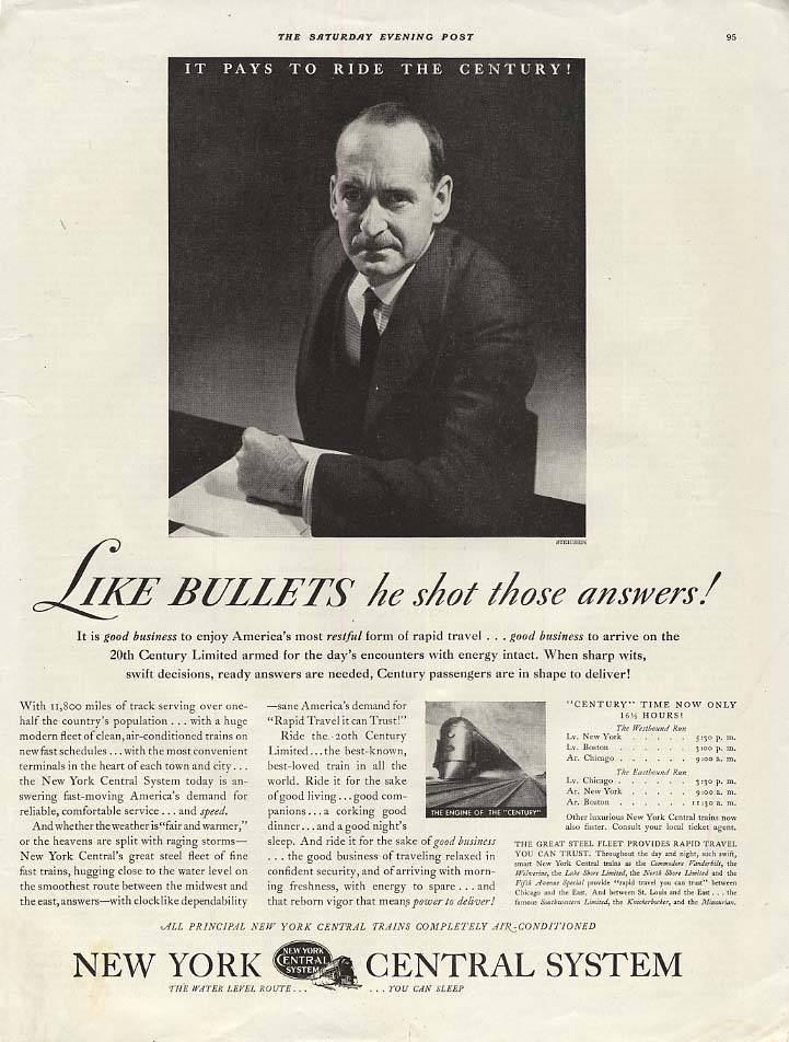 Like bullets he shot answers NY Central 20th Century Limited ad 1936 Steichen