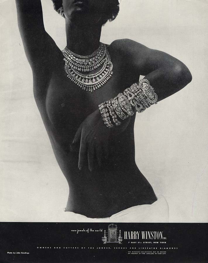 Rare Jewels of the World Harry Winston ad 1948 black topless model by Rawlings F