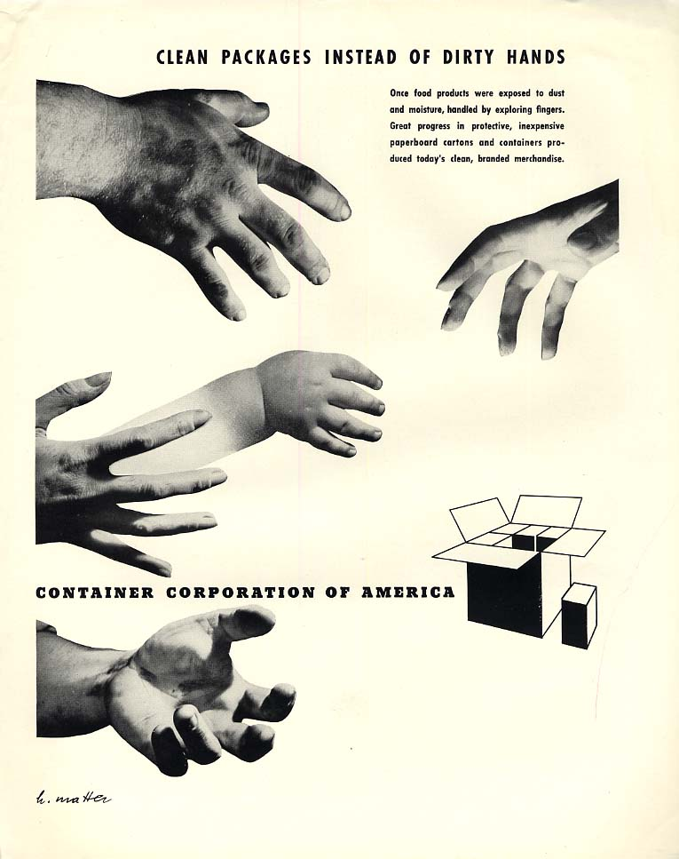Clean Packages not Dirty Hands Container Corporation of America ad 1941 H Matter