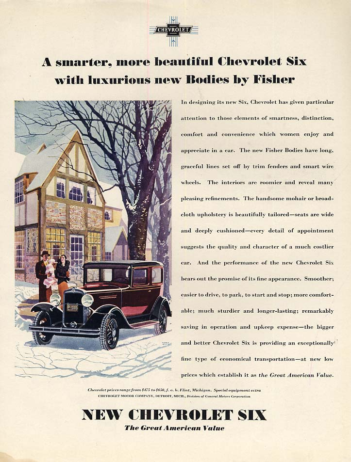 A smarter more beautiful Chevrolet Six ad 1931 WHC