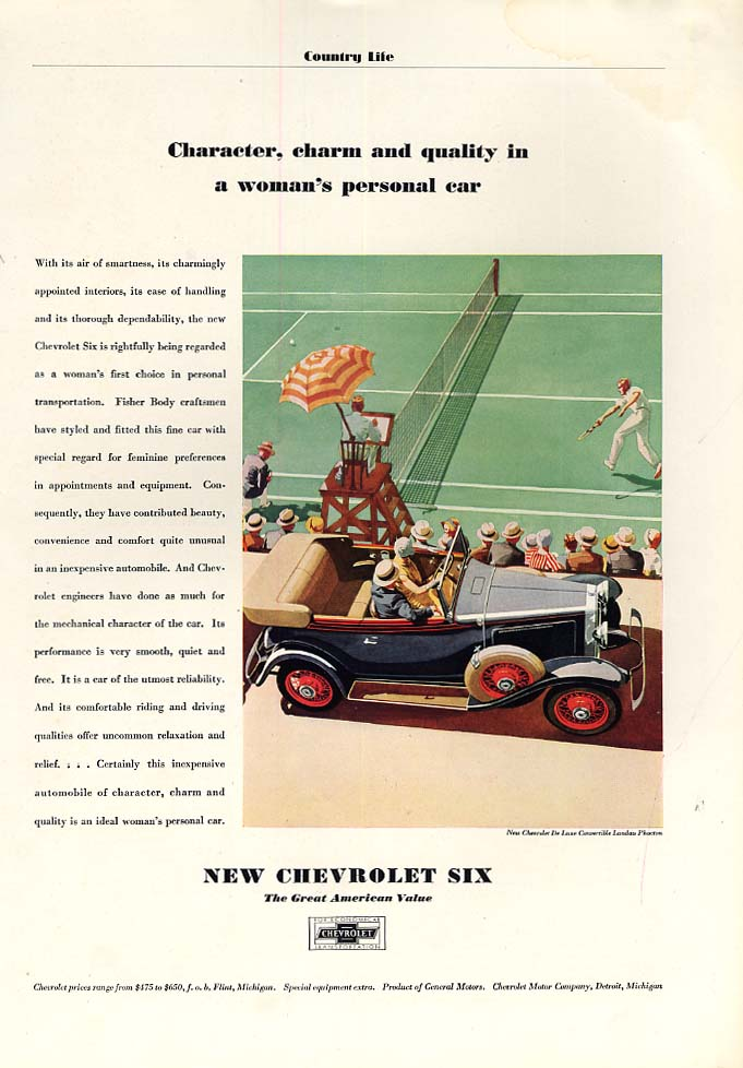 Character charm & quality on a woman's personal car Chevrolet Phaeton ad 1931 CL