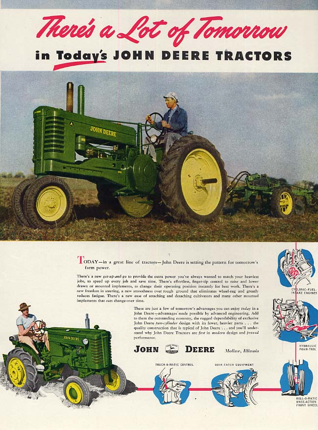 Image for There's a Lot of Tomorrow in today's John Deere Tractors ad 1948 FQ