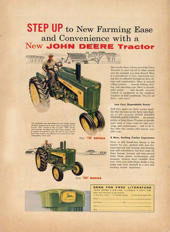 Image for Step Up to New Farming Ease - John Deere 730 & 830 Series Tractor ad 1958 FQ