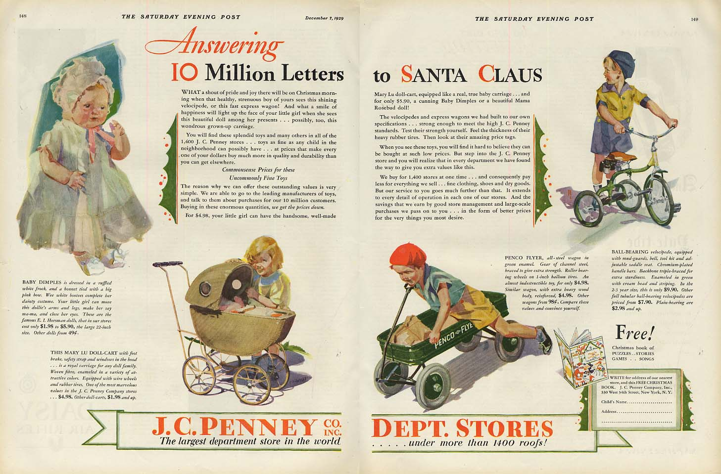 Answering 10 Million Letters to Santa Claus - J C Penney toys ad 1929 SEP