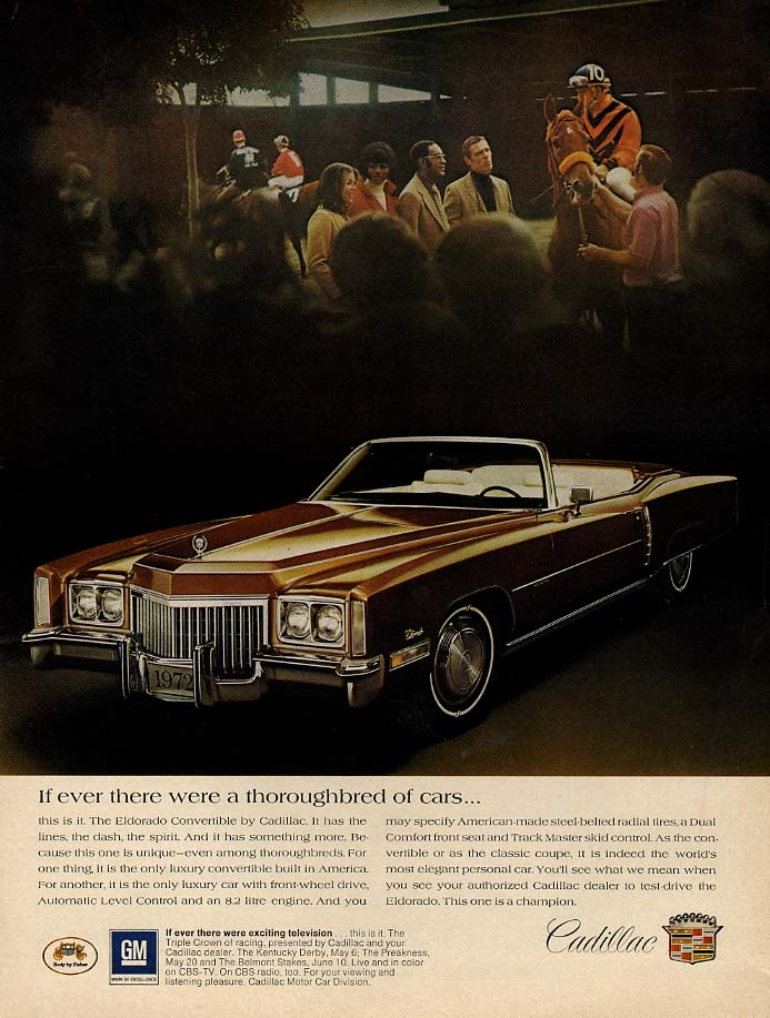 If ever there were a thoroughbred of cars Cadillac Eldorado ad 1972 var