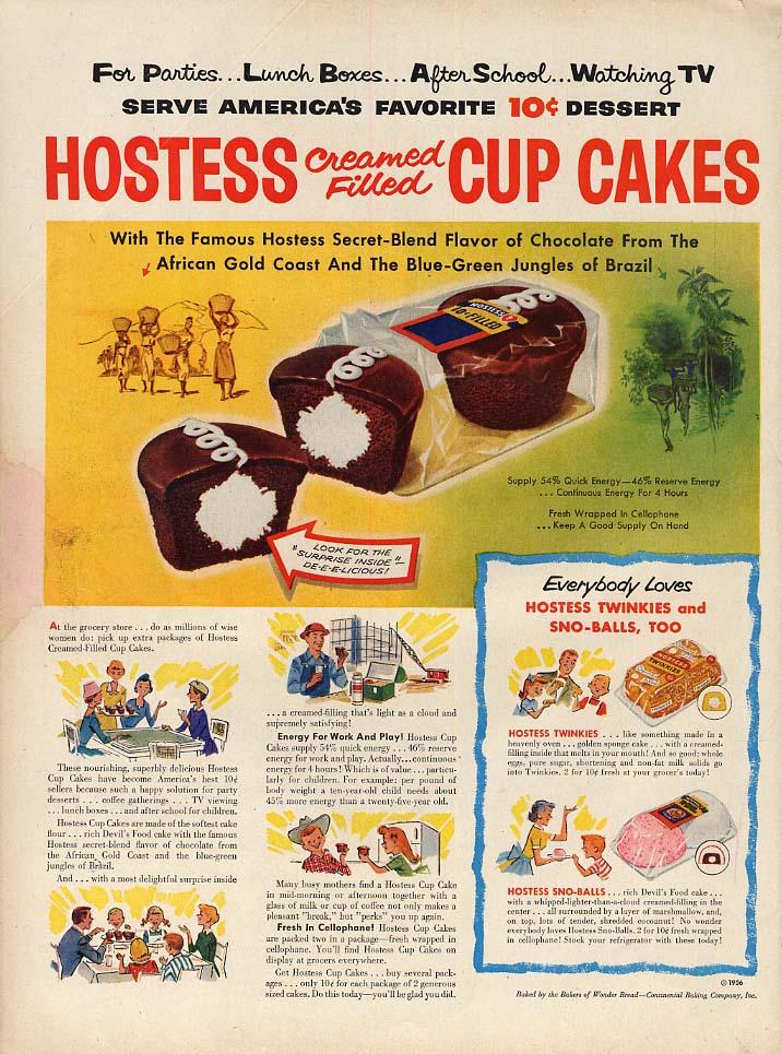 America's Favorite 10 cent Dessert Hostess Cream Filled Cup Cakes ad 1956 L