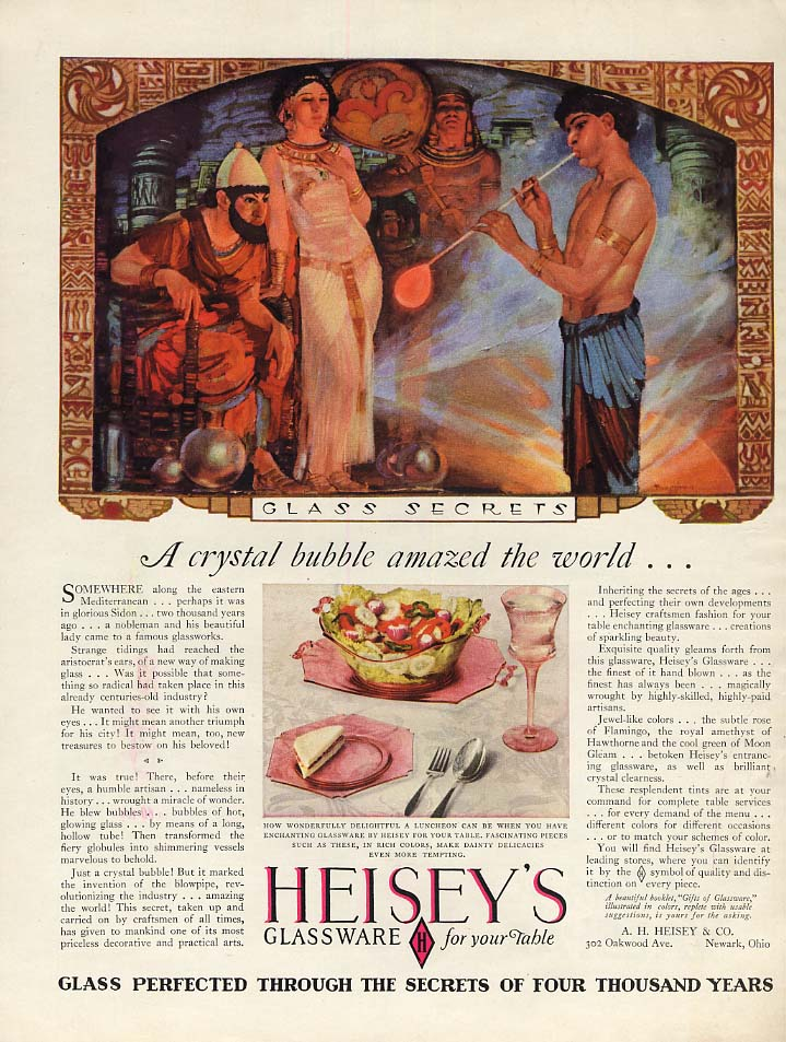 A crystal bubble amazed the world Heisey's Glassware ad 1928 by Tenggren WHC