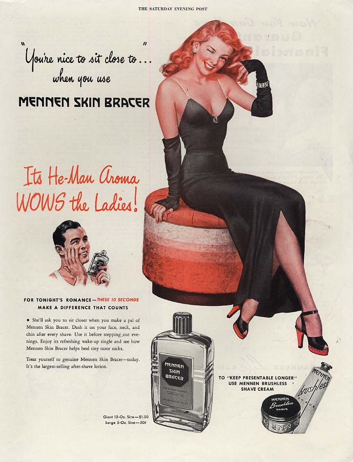 You're nice to sit close to when you use Mennen Skin Bracer ad 1946 Mingo pin-up