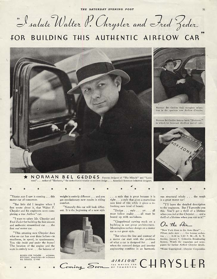 Image for I Salute Walter Chrysler & Fred Zeder Norman Bel Geddes Chrysler Airflow ad 1934