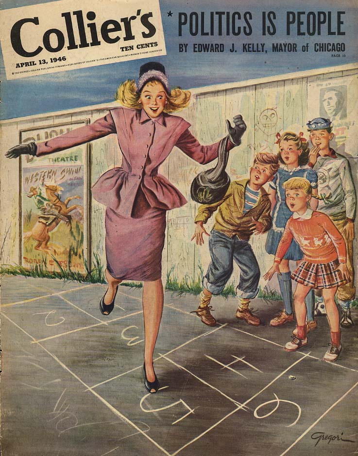 COLLIER'S COVER 1946 Young woman plays hopscotch by Gregori