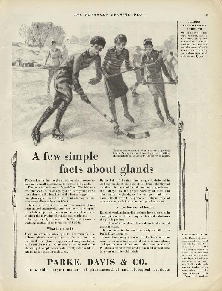 A few simple facts about glands - Parke Davis ad 1928 girls play ice hockey SEP