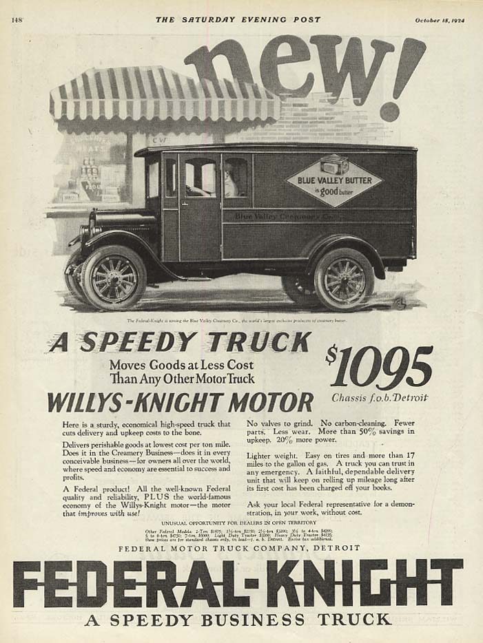 A Speedy Truck Moves Goods Federal-Knight Blue Valley Butter truck ad 1924 SEP