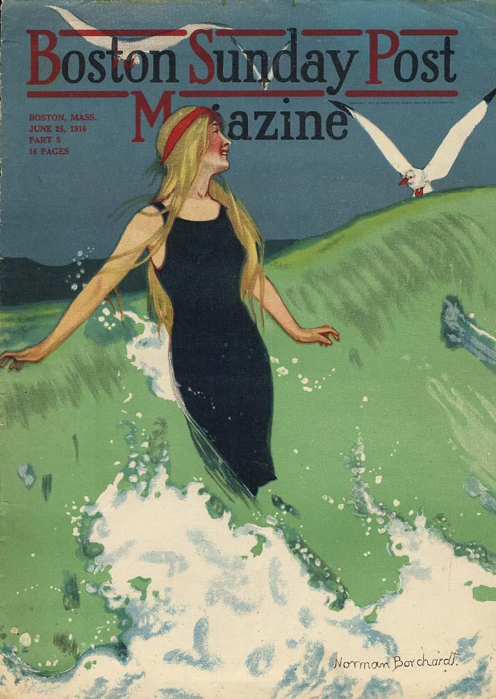 BOSTON SUNDAY POST MAGAZINE 1916 blonde beauty in swimsuit by Norman Borchardt