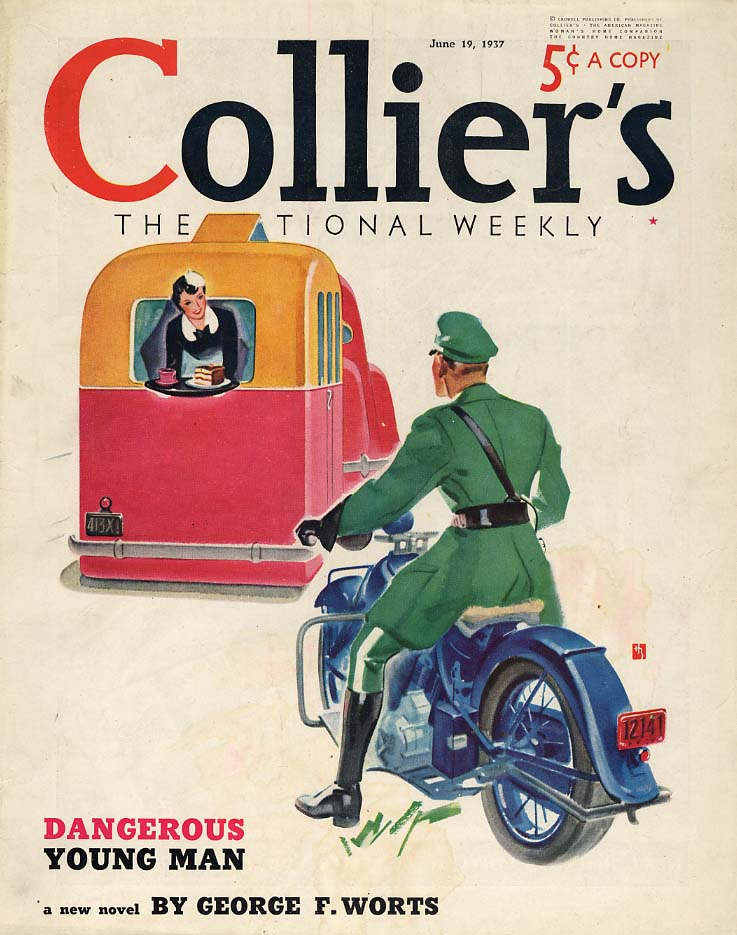COLLIER'S COVER 1937 woman in trailer offers cake to motorcycle cop by Butler