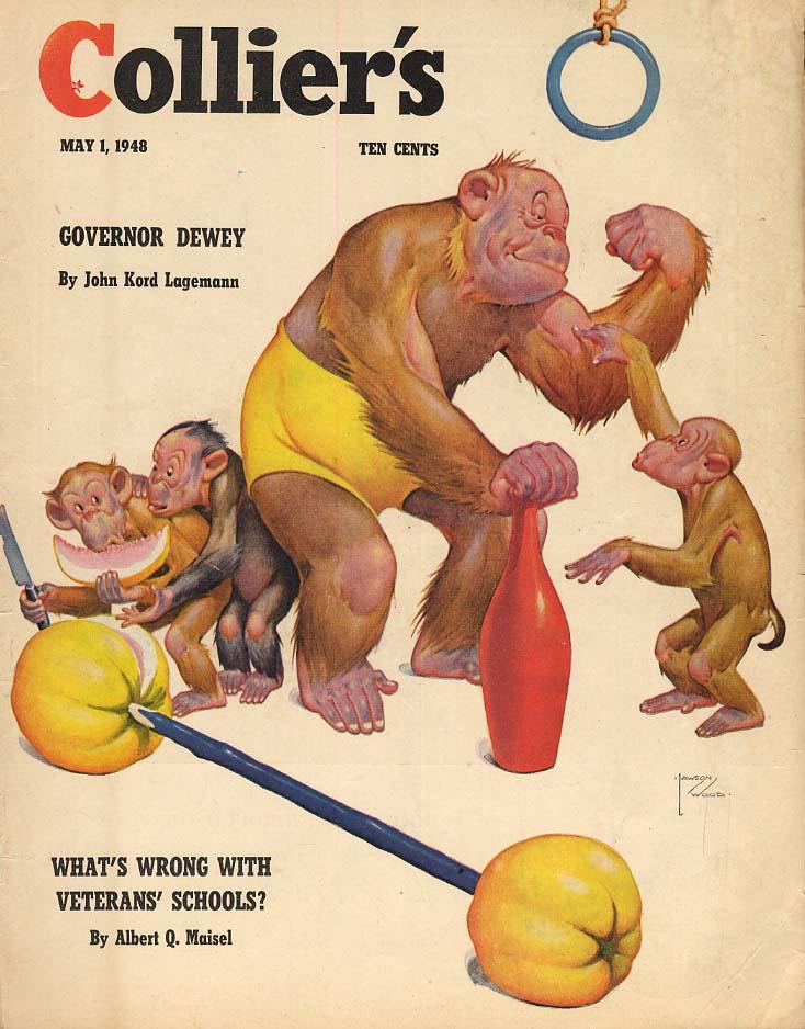COLLIER'S COVER 1948 Lawson Wood monkeys workout regimen