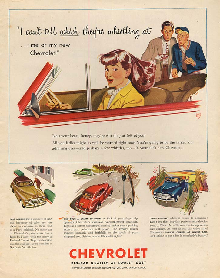 Can't tell which they're whistling at - redhead in Chevrolet Convertible ad 1947