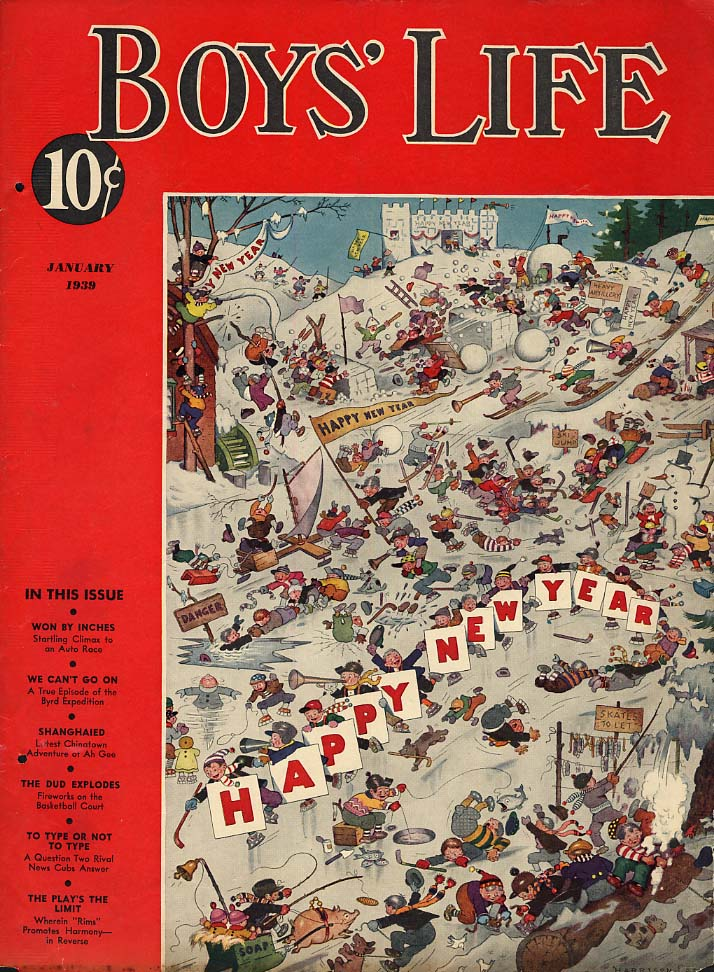 BOYS LIFE COVER 1 1939 Happy New Year by Harrison Cady skating skiing snowballs