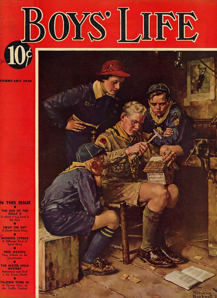 BOYS LIFE COVER 2 1938 making a bird house by Norman Rockwell