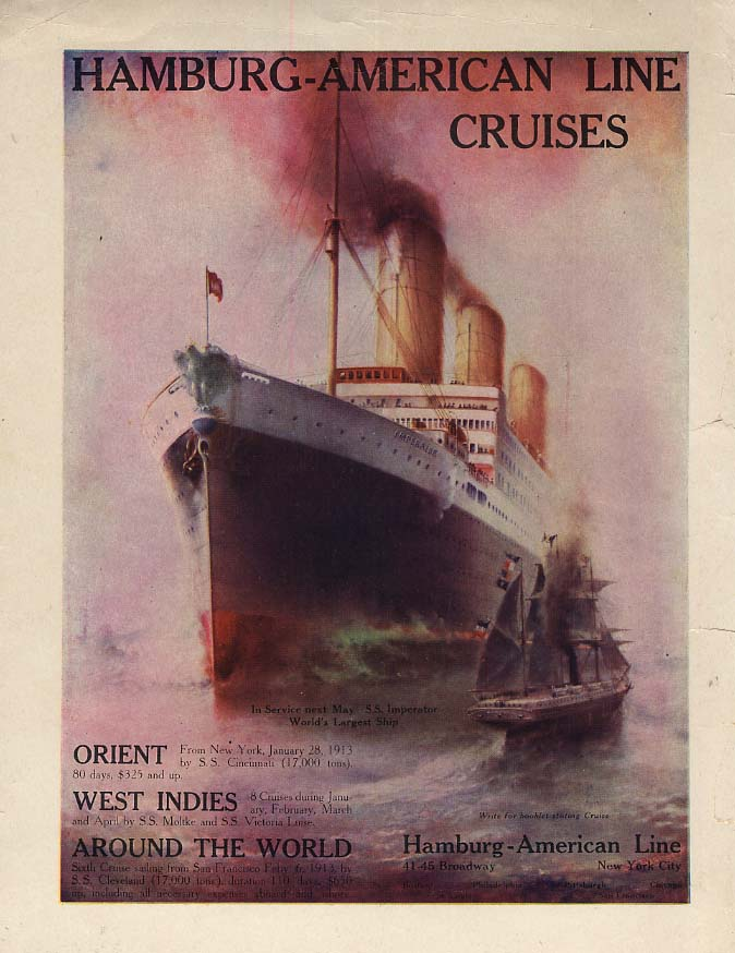 Image for S S Imperator - Hamburg-American Line Cruises Orient West Indies ad 1912 Tr