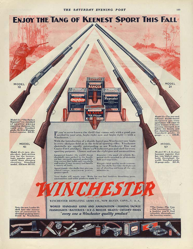 Enjoy the Tang of Keenest Sport This Fall - Winchester Rifles & Shotguns ad 1930