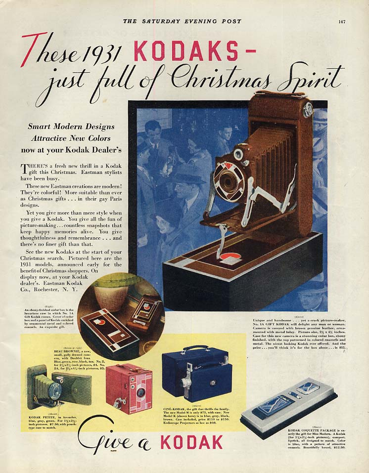 Just full of Christmas Spirit - Kodak Number 1A camera in genuine leather ad1931