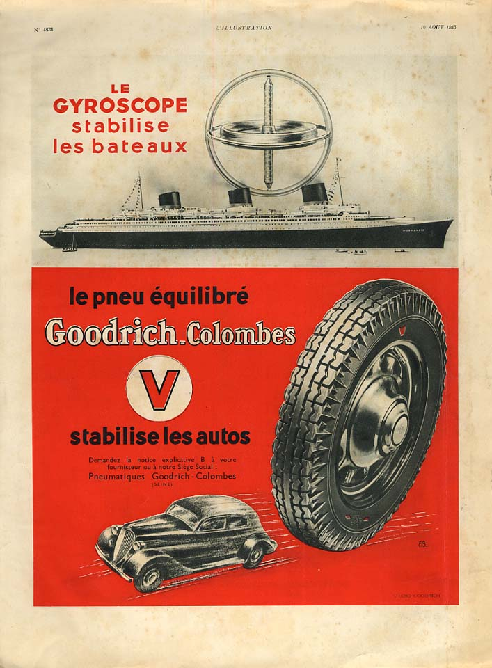 Image for Le Gyroscope stabilise S S Normandie - Goodrich Tires ad 1935