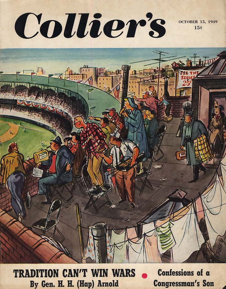 COLLIER'S COVER 1949 Watching World Series from nearby buildings by Tobey