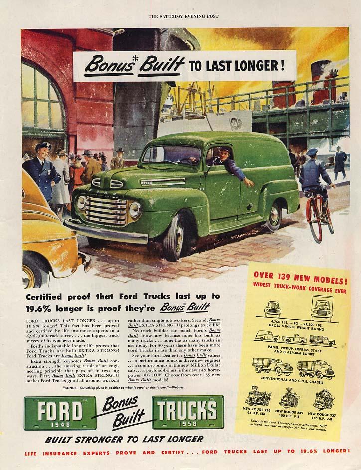 Bonus Built to Last Longer - Ford Panel Truck ad 1948 SEP