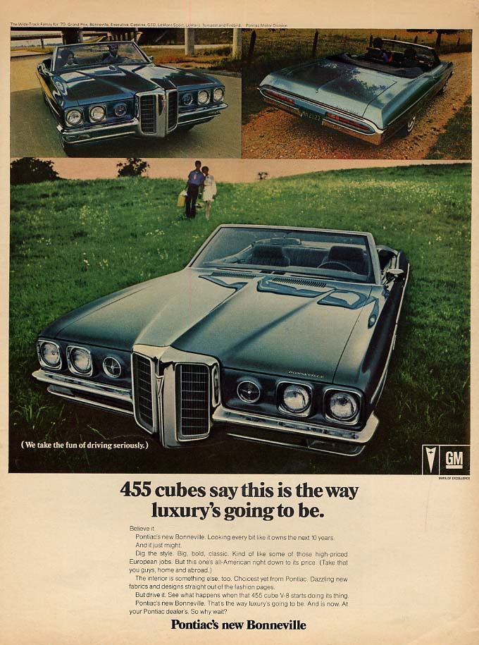 455 cubes say this is luxury Pontiac Bonneville Convertible ad 1970 EB