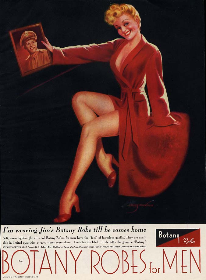 I'm wearing Jim's Botany Robe till he comes home ad 1944 Billy DeVorss pin-up