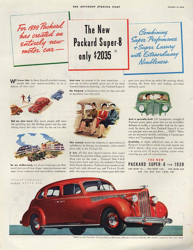 Super Performance & Luxury - Packard Super-8 Touring Sedan ad 1939 SEP