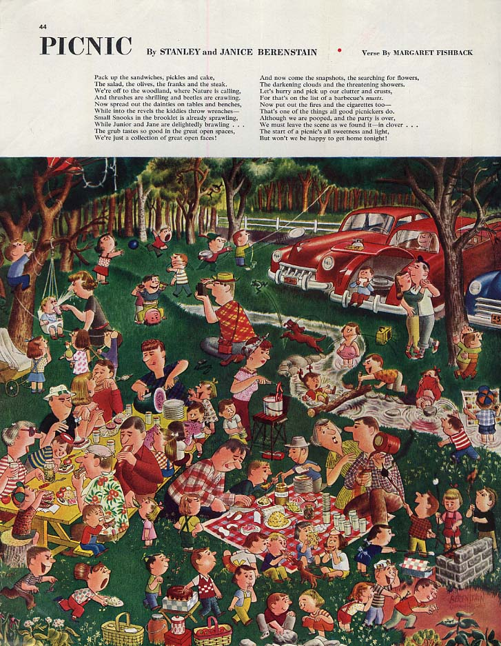 Collier's Magazine page 1949: Picnic by Stanley & Janice Berenstain / Fishback