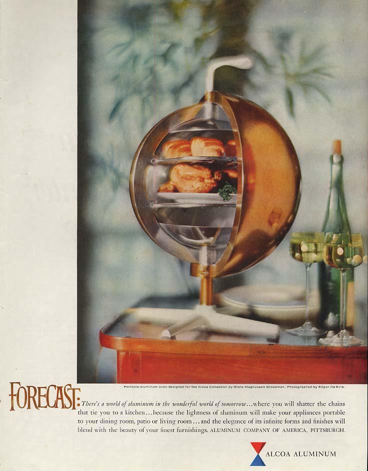 Forecast: Alcoa Aluminum Greta Magnusson Grossman Portable Oven ad 1959 P