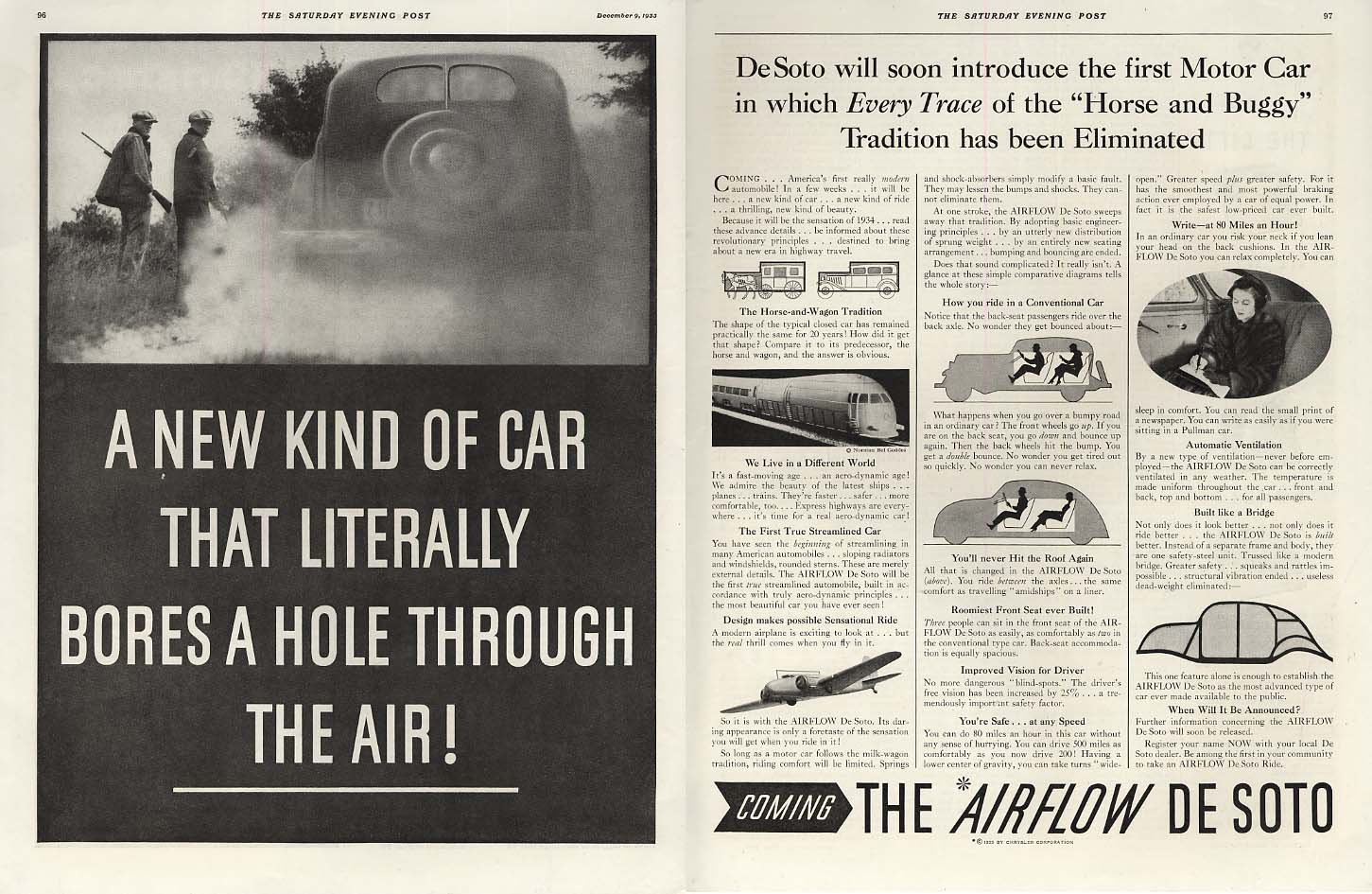 A Car that Literally Bores a Hole Through the Air! De Soto Airflow ad 1934 SEP