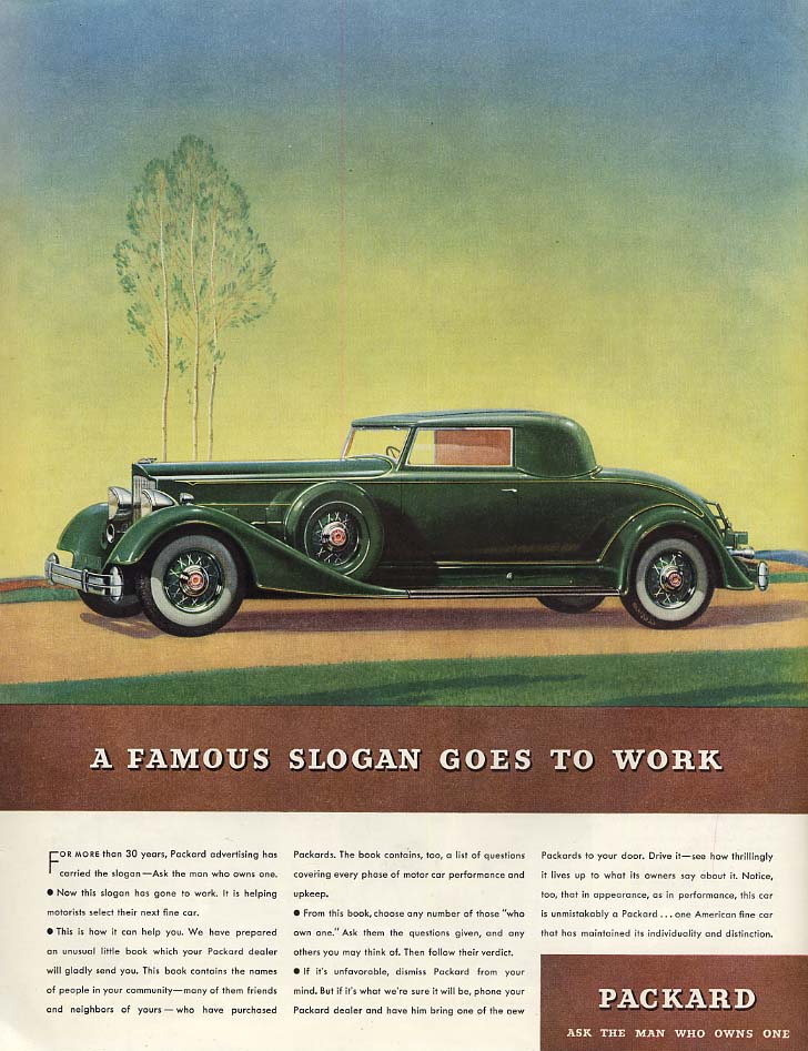 A Famous Slogan Goes to Work - Packard Coupe ad 1934 SEP