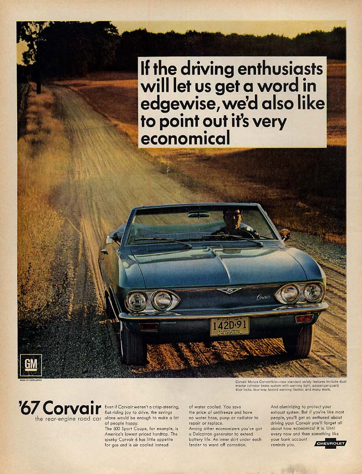 If enthusiasts let us get a word in - it's very economical Corvair Monza ad 1967