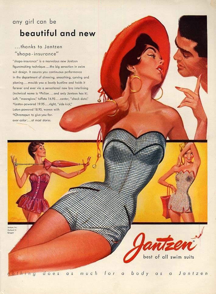 Any girl can be beautiful & new Jantzen Swimsuits ad 1954 Pete Hawley art L