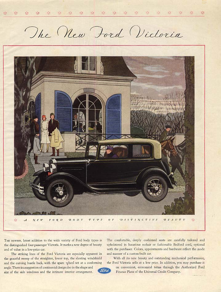 A Body Type of Distinctive Beauty Ford Model A Victoria ad 1931 McC