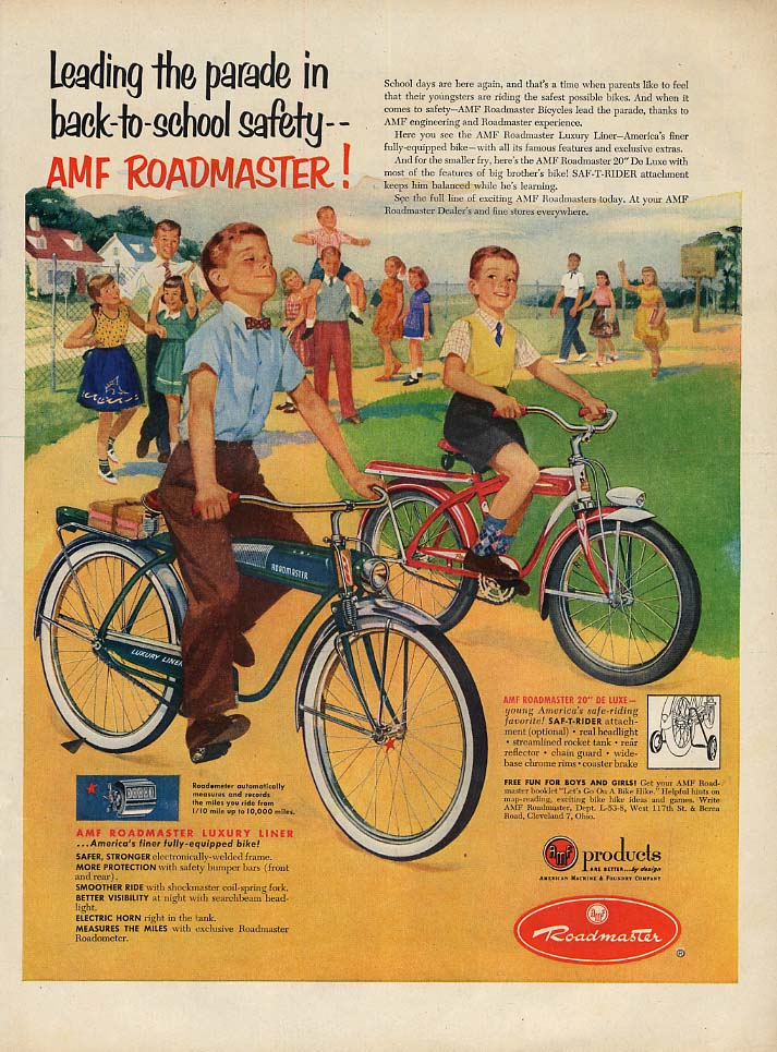 Leading the parade in back-to-school safety AMF Roadmaster Bicycle ad 1953 L