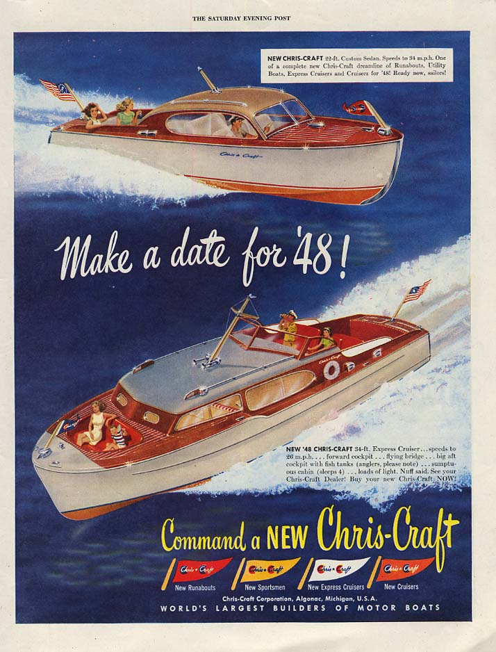 Make a date for '48! Chris-Craft Custom & Express Cruiser speedboat ad 1948