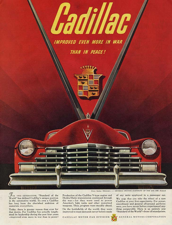 Improved even more in war than in peace! Cadillac ad 1946 SEP