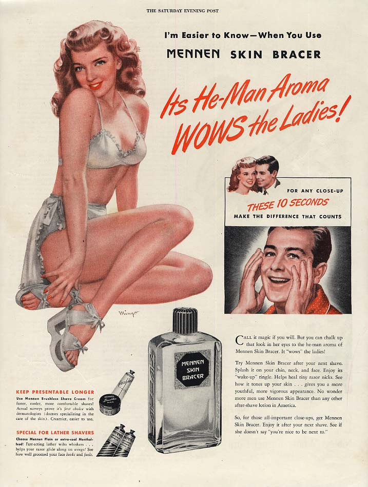 Image for It's He-Man Aroma WOWS the Ladies! Mennen Skin Bracer ad 1946 Mingo pin-up