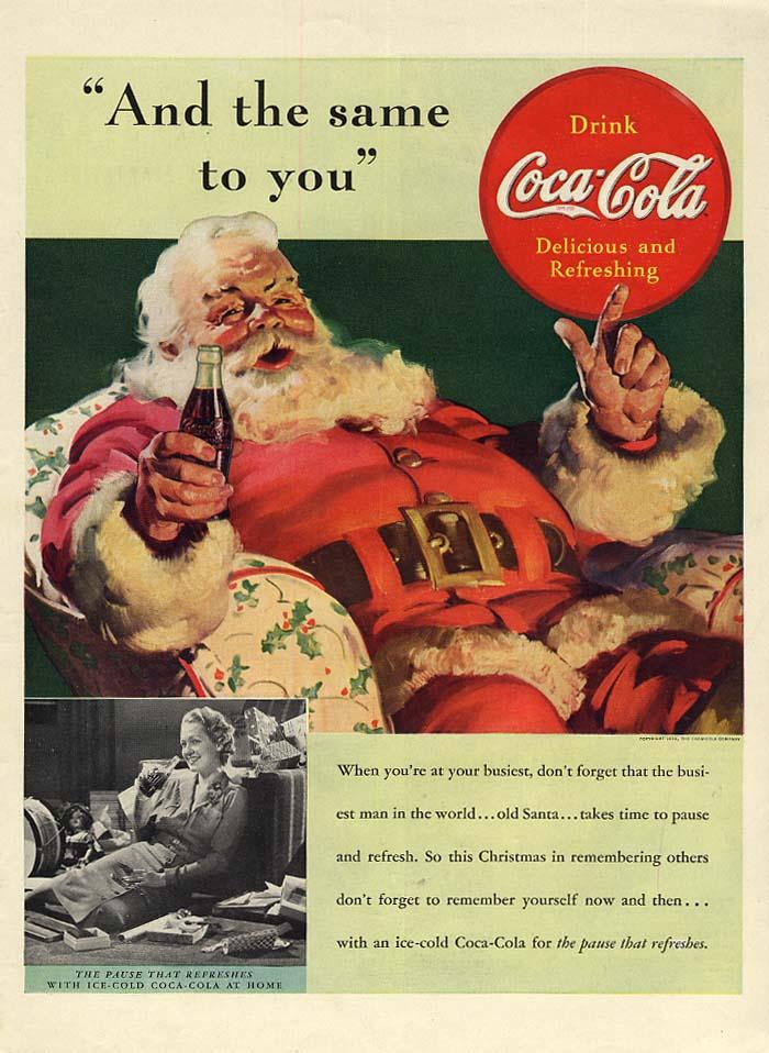 And the same to you Santa Claus for Coca-Cola ad 1939 L Sundblom art